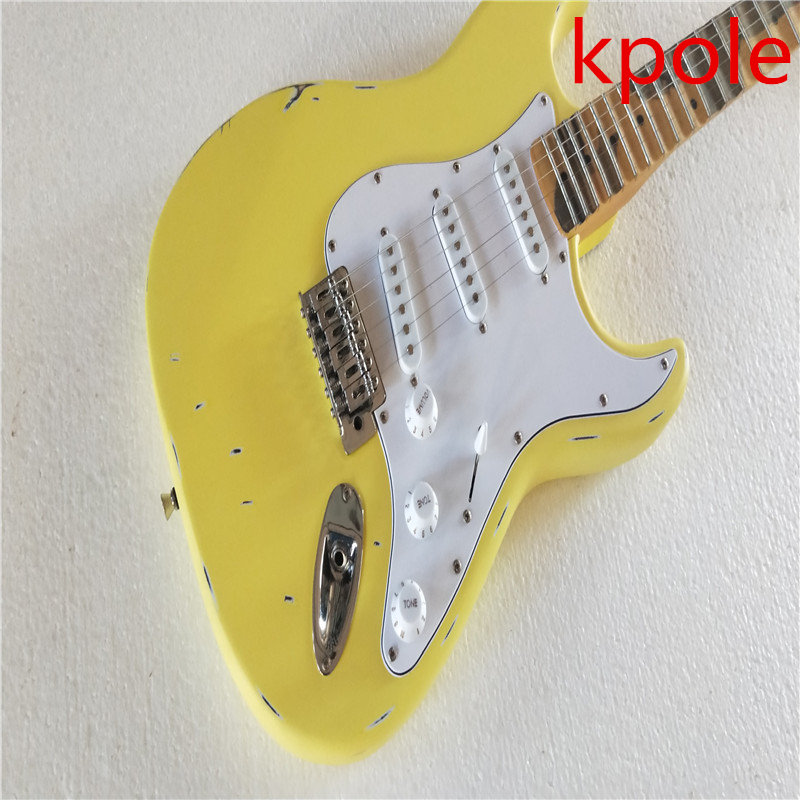 Custom shop Kpole limited edition bulk head groove, milk yellow, relic guitar tribute electric guitar free shipping