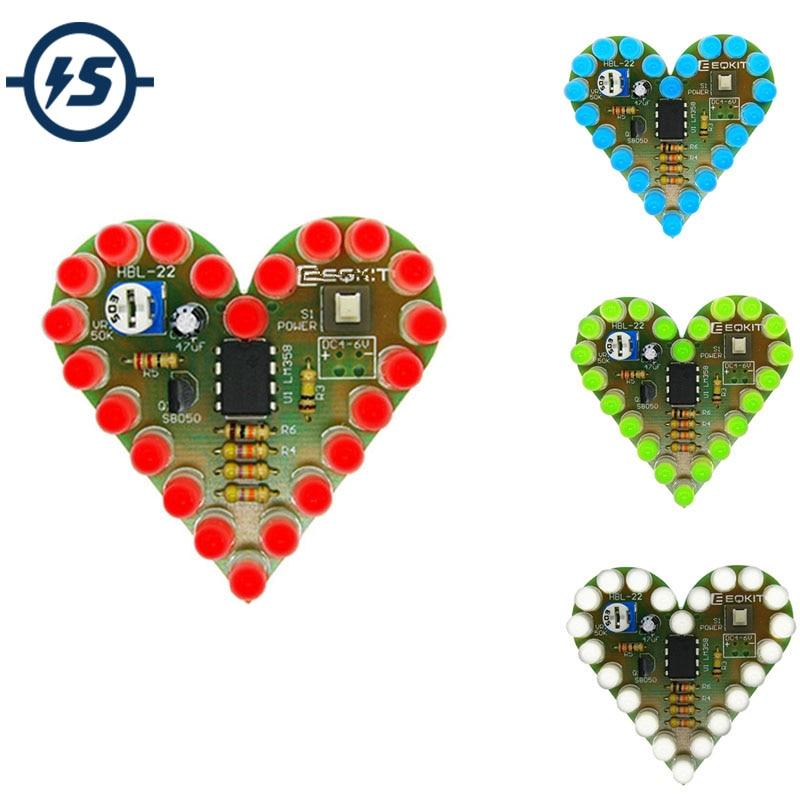 US $0.98 23% СКИДКА|Набор электронных ламп в форме сердца для самостоятельного обучения, набор дышащих ламп постоянного тока 4 в 6 в, набор светодиодных ламп красного, белого, синего, зеленого цвета для самостоятельного обучения|diy kit|kit dc|kit kits - AliExpress
