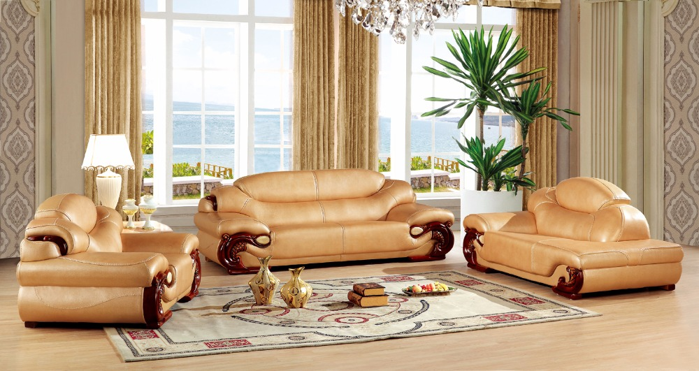 European Leather Sofa Set Living Room China Wooden Frame Sectional 1 3 Chaise In Sofas From Furniture On Aliexpress Alibaba