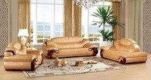 European leather sofa set living room sofa China wooden frame sectional sofa 1+3+chaise
