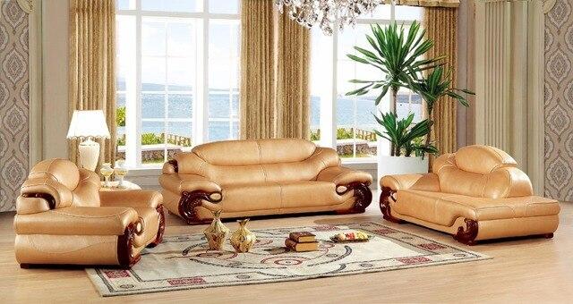Marco de madera sofá de cuero sofá de la sala europeo China ...