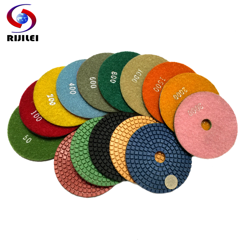 RIJILEI 10 Pcs/lot  4inch/100mm Wet Polishing Pads/granite Polishing Pads /diamond Polishing Pad For Marble Diamond Tools (4DS1)
