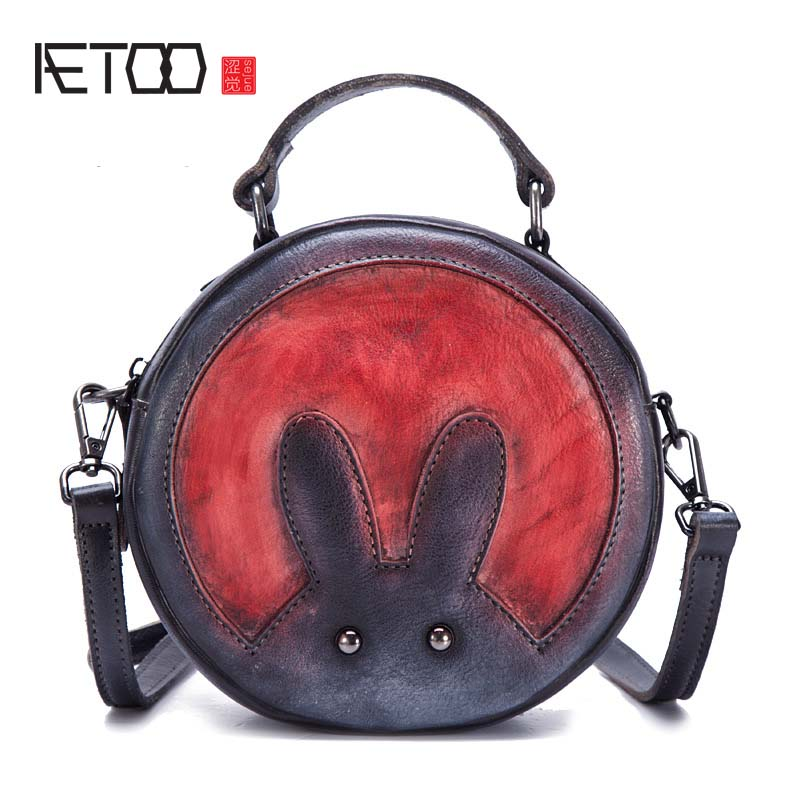 цена на AETOO The new girl wind color ladies round small bag Bunny stitching cute single shoulder diagonal package