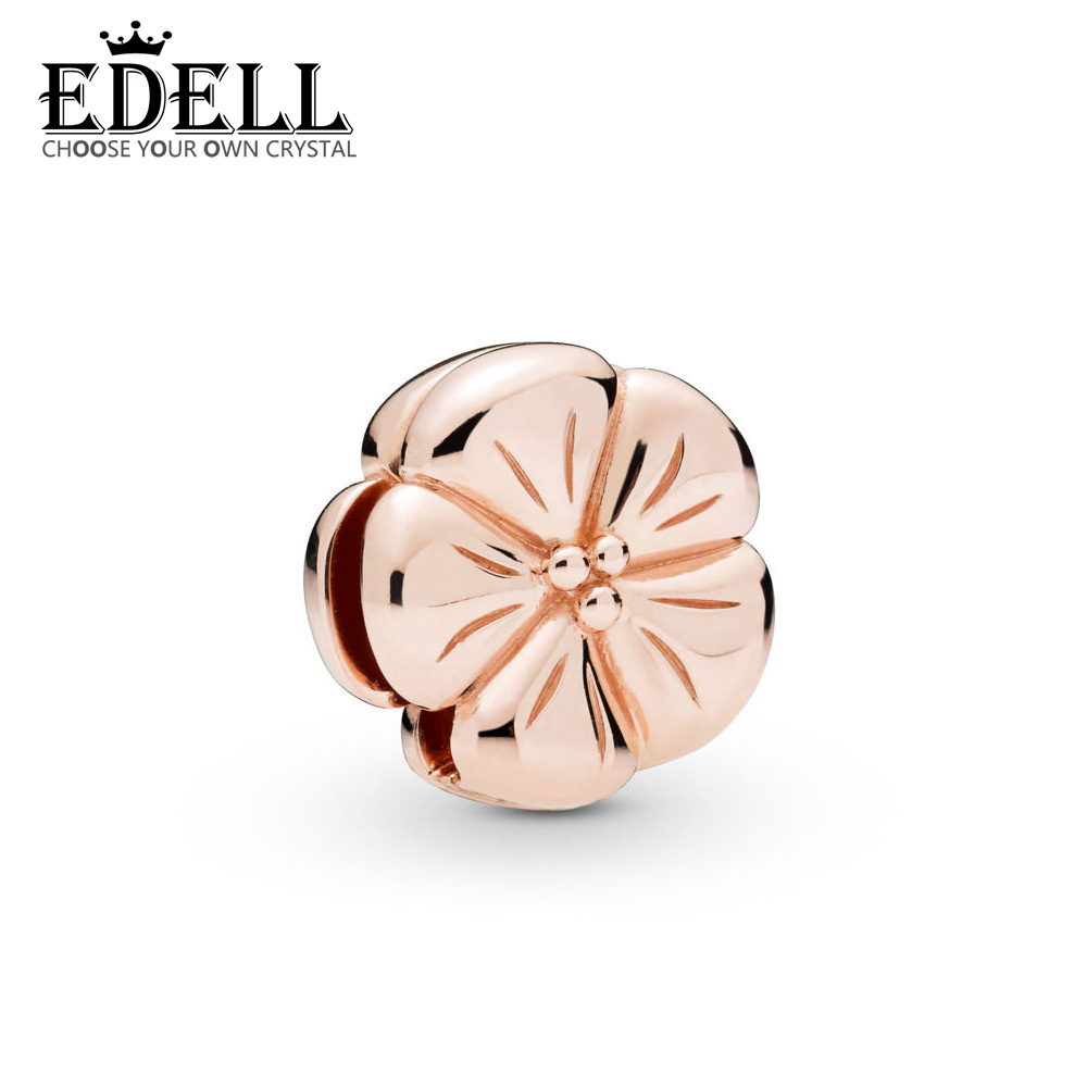 EDELL 925 Sterling Silver 2019 Spring Ladies Temperament Fashion Rose Gold Classic Flower Reflection Clip Charm Beaded JewelryEDELL 925 Sterling Silver 2019 Spring Ladies Temperament Fashion Rose Gold Classic Flower Reflection Clip Charm Beaded Jewelry