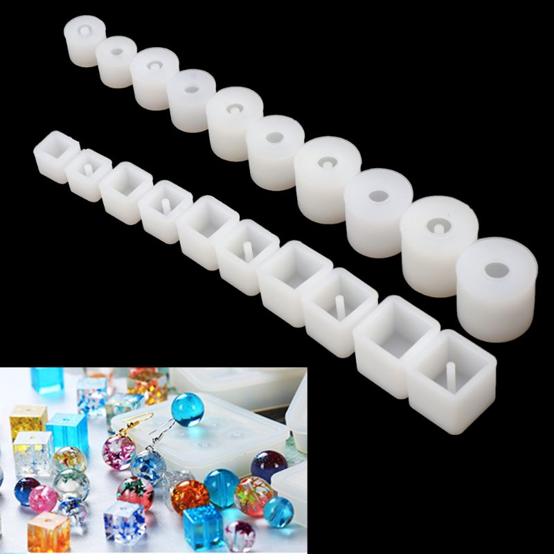 10/20Pcs Silicone UV Resin DIY Round Square Beads DIY Mold Jewelry Making Resin Casting Mold