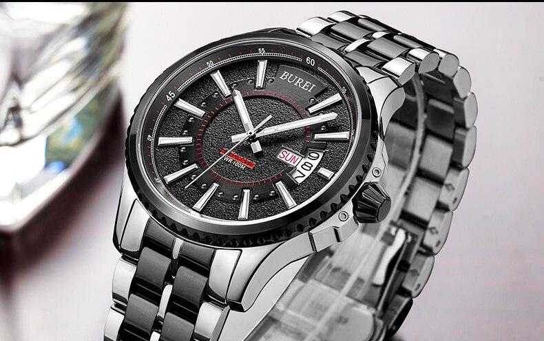 5015ccc90497 BUREI 15010 Suiza relojes hombres marca de lujo de Los Hombres Día y ...