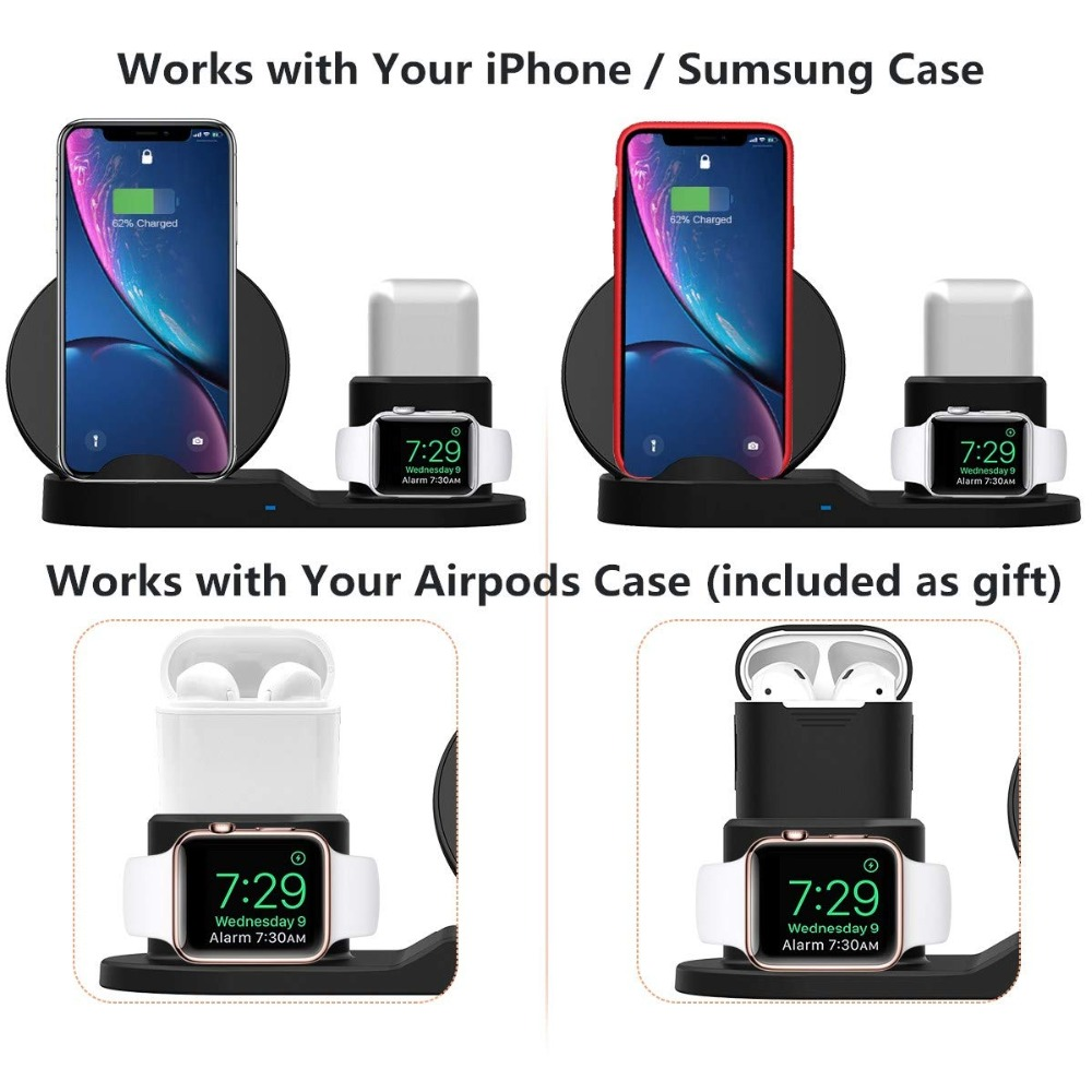 Wireless Charger Stand for iPhone AirPods Apple Watch, Charge Dock Station Charger for Apple Watch Series 4/3/2/1 iPhone X 8 XS 8