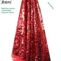 YACKALASI 1 Sân Red Sequined Vải Dress Vải Ren Dark Red Thêu Bảng Runner Vải 132 CM Rộng