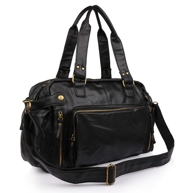 KUNDUI Balde bolsas de Marca PU sacos de viagem dos homens de Couro Do Vintage Saco Do Mensageiro Homem ombro homens de Negócios de Grande Volume koffer