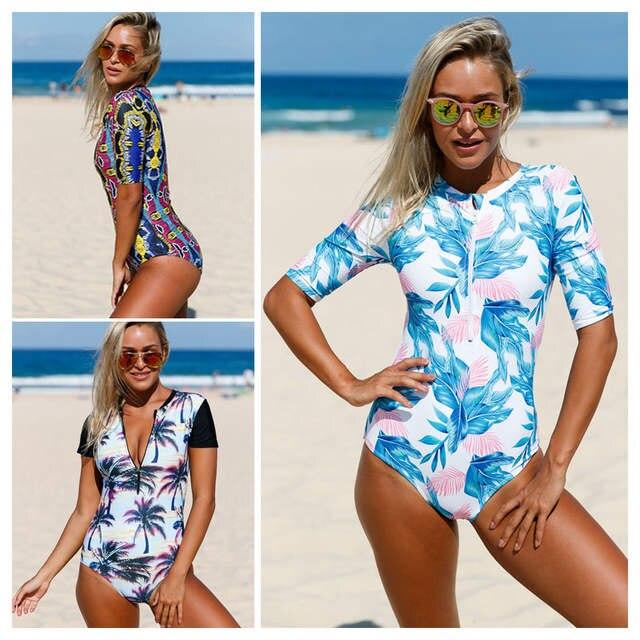 a9ba0bba3b4e4 placeholder Aleumdr Summer Print Leaves Zip Front Half Sleeve Swimwear  Women One Piece Swimwear Bodysuits LC410203 Bathing