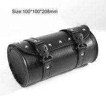 New Fashion Motorcycle Tool Bag Luggage Saddlebag Roll Barrel PU Leather with Plastic Buckles Storage Bag Drop Shipping
