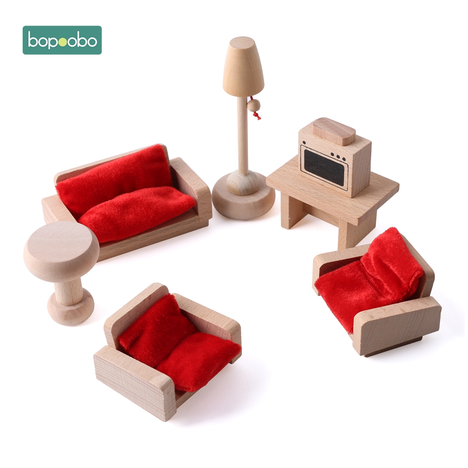 Bopoobo Baby Wooden Toys Children Mini Furniture Tl Simulated Living Room Bedroom Kid Play Toys Set Waldorf Toy Blocks