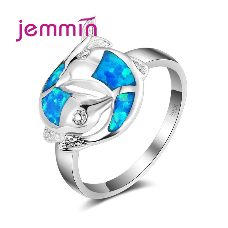 Two Fishes Shaped With Ocean Blue Opal Ring 925 Sterling Silver Silver Color Jewelry For Women & Girl Engagement Jewelry.