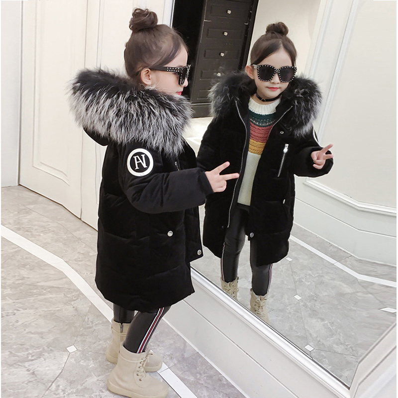 Girls Jackets & Coats New 2017 Arrivals Fashion Fur Hooded Thick Warm Parka Down Kids Velour Cotton Children's Outwear Clothing