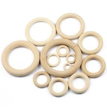 JHNBY-cuentas de madera Natural sin plomo, 20-95mm, conectores, círculos, anillos, cuentas, para pulsera, fabricación de joyería, dentición de bebé