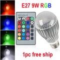 Высокое качество 9 Вт RGB СВЕТОДИОДНЫЕ Лампы AC85-265V E27 Изменение Цвета RGB СВЕТОДИОДНЫЕ Лампы с ПУЛЬТОМ дистанционного управления бесплатная доставка
