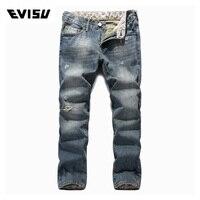 Evisu 2018 Men hipster jeans Casual Fashion Trousers Zipper Men Pockets Jeans Straight Long Classic Sky Blue Jeans For Men 630
