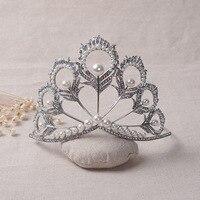 European Designs Vintage Peacock Crystal Pearl Tiara Crowns Bridal Hair Accessories Wedding Quinceanera Rhinestone Hairwear