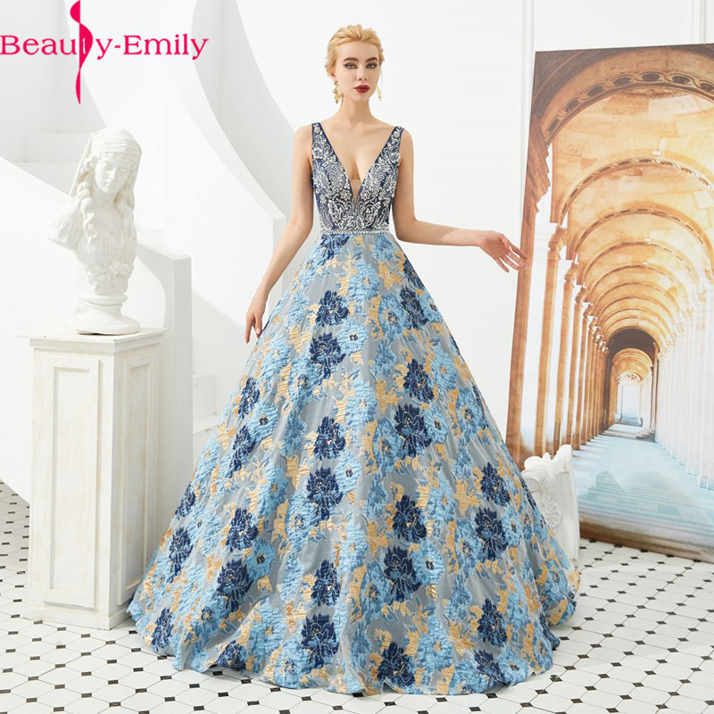 Abendkleid 2020 Lange Real Photo Sexy V Neck Sleeveless Perlen Charming Backless Floral Druck Formale Party Kleid Appliques
