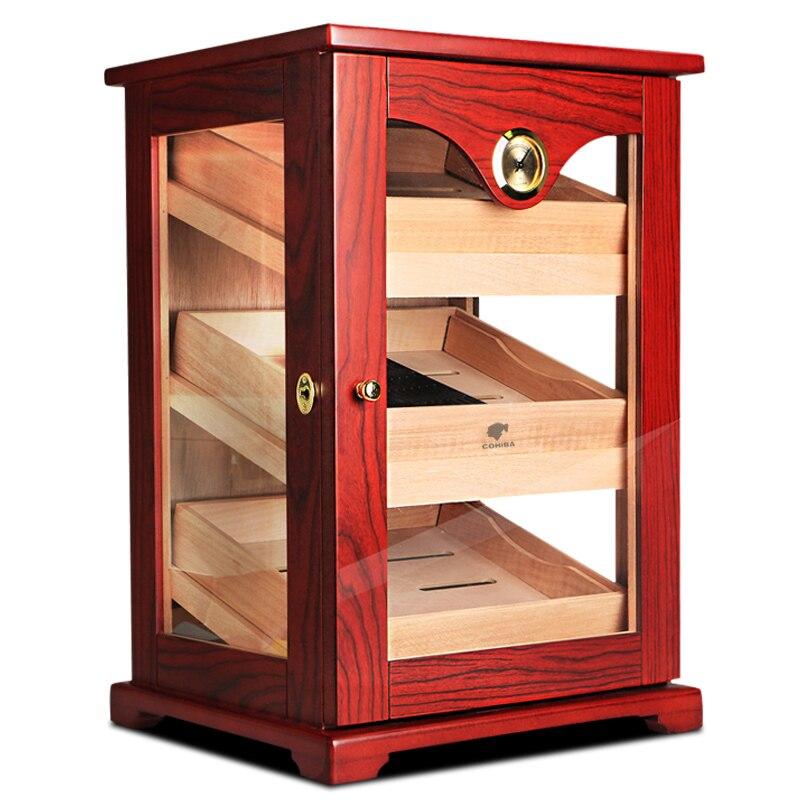 Promotion Price COHIBA High Glossy Cedar Wood Cigar Cabinet Humidor Storage Box W 3 Drawers Hygrometer