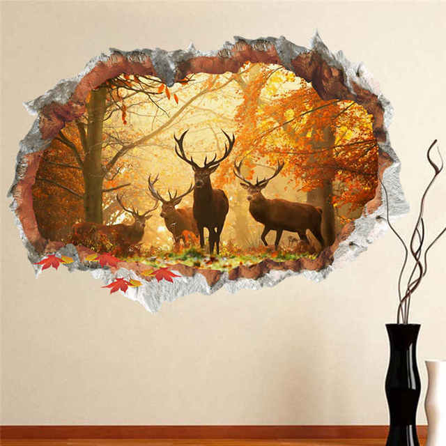 Forest Deer Wall Stickers 3D Effect Through Wall Decals Poster Mural Living  Room Bedroom Home Decor