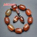 Antigo vermelho de ágata contas de oração pulseiras homens de pulso Malas , encantos jóias 5