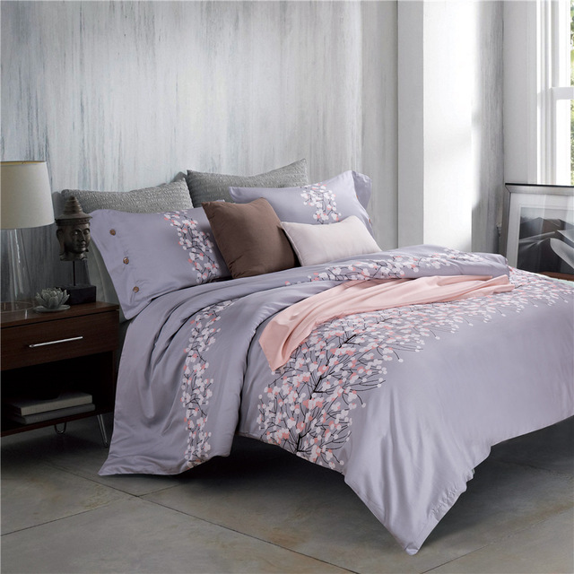 Delicieux CHAUSUB Quality Bedding Set 4pcs 60S Egyptian Cotton Gray Printed Duvet  Cover Silk Bed Cover Sheets