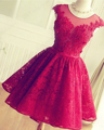 Princess Red Appliques Lace Short Homecoming Dresses 2016 Fashion Backless Sleeveless Cocktail Gowns Cheap Red Short Prom Dress