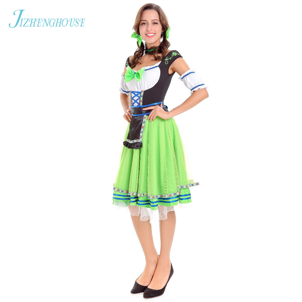 cd080aba16172 US $23.99 |JIZHENGHOUSE Halloween Bavarian Oktoberfest Beer Festival Maid  Waiter Costume German Beer Wench Girl Gretchen Costumes -in Holidays ...