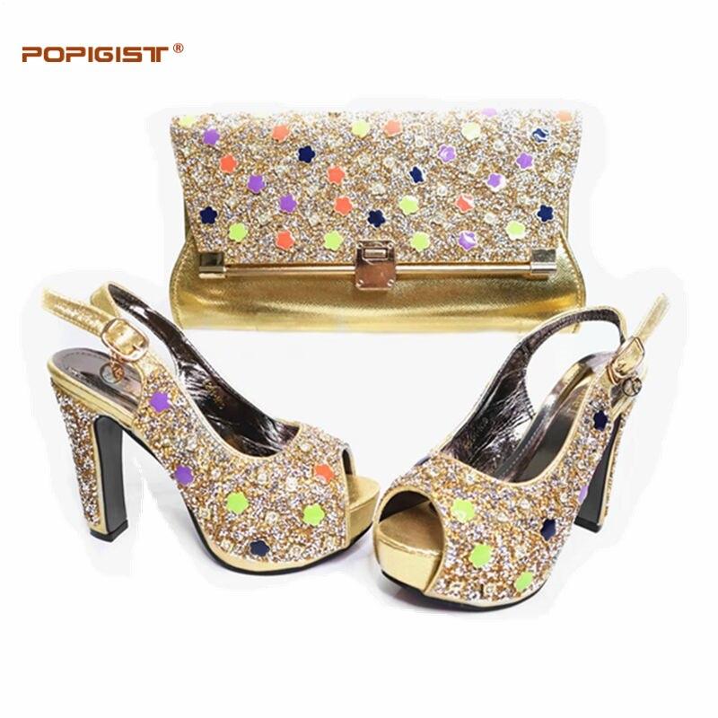 a1f5f670eb5434 Strass gold red Femmes Chaussures Ensemble Italie Royal Teal Sac Nigérianes  Bleu Décoré royal Blue Avec ...