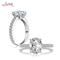 COLORFISH 925 Silver Solitaire Ring For Women SONA NSCD Oval Cut 3 Ct Wedding Engagement Ring