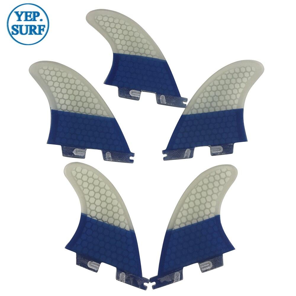 Aletas de tabla de Surf FCS2 K2.1 aletas tri-quad Surf FCSII color azul y blanco Quilhas aletas de panal - 6