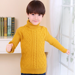 Свитер с высоким воротом для маленьких мальчиков и девочек, трикотажный свитер в полоску с перекрестными полосками, осенне-зимний теплый трикотажный свитер унисекс, От 2 до 14 лет