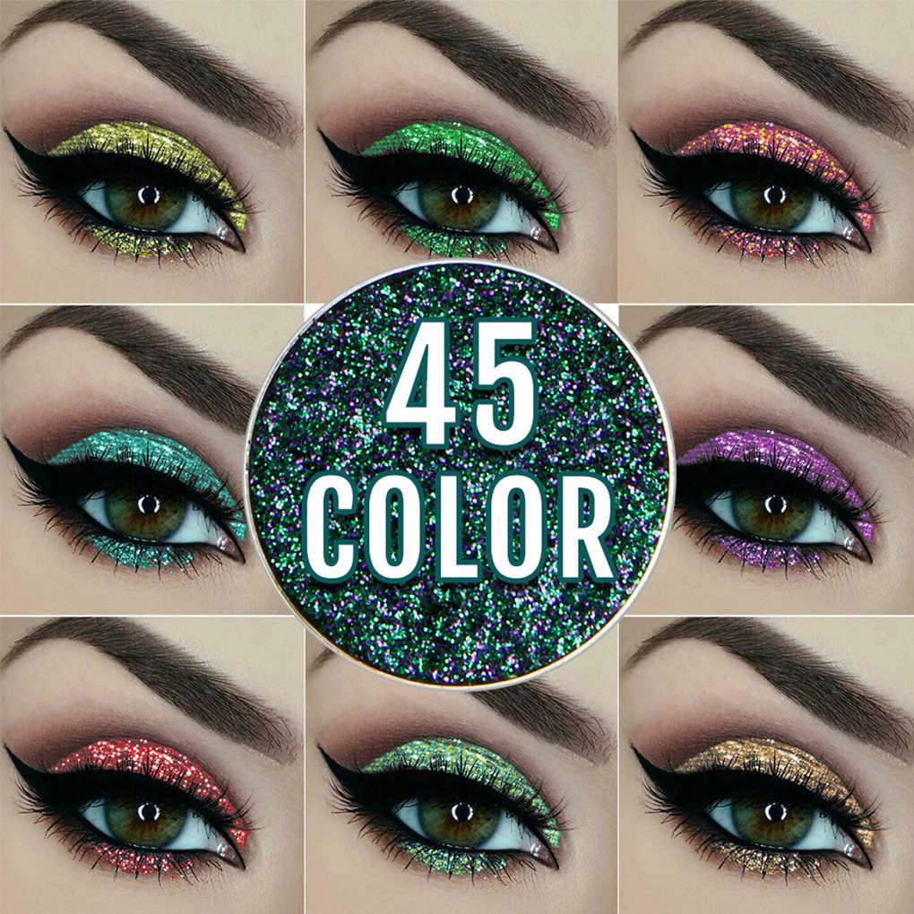45 colors Women Girls Glitter deep blue Eyeshadow Shimmer Body Pigment 3D Nude Metallic Eye Makeup