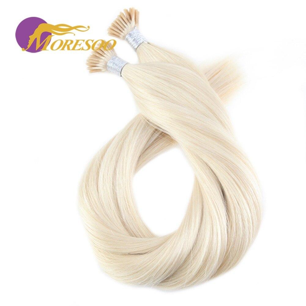 I Tip Moresoo Spitze Ich Haar Extensions Echthaar Echt Brasilianisches Haar Keratin Vor Verbundene Kalte Fusion Haar Reine Farbe 1g /1 S 50 S 50g Offensichtlicher Effekt