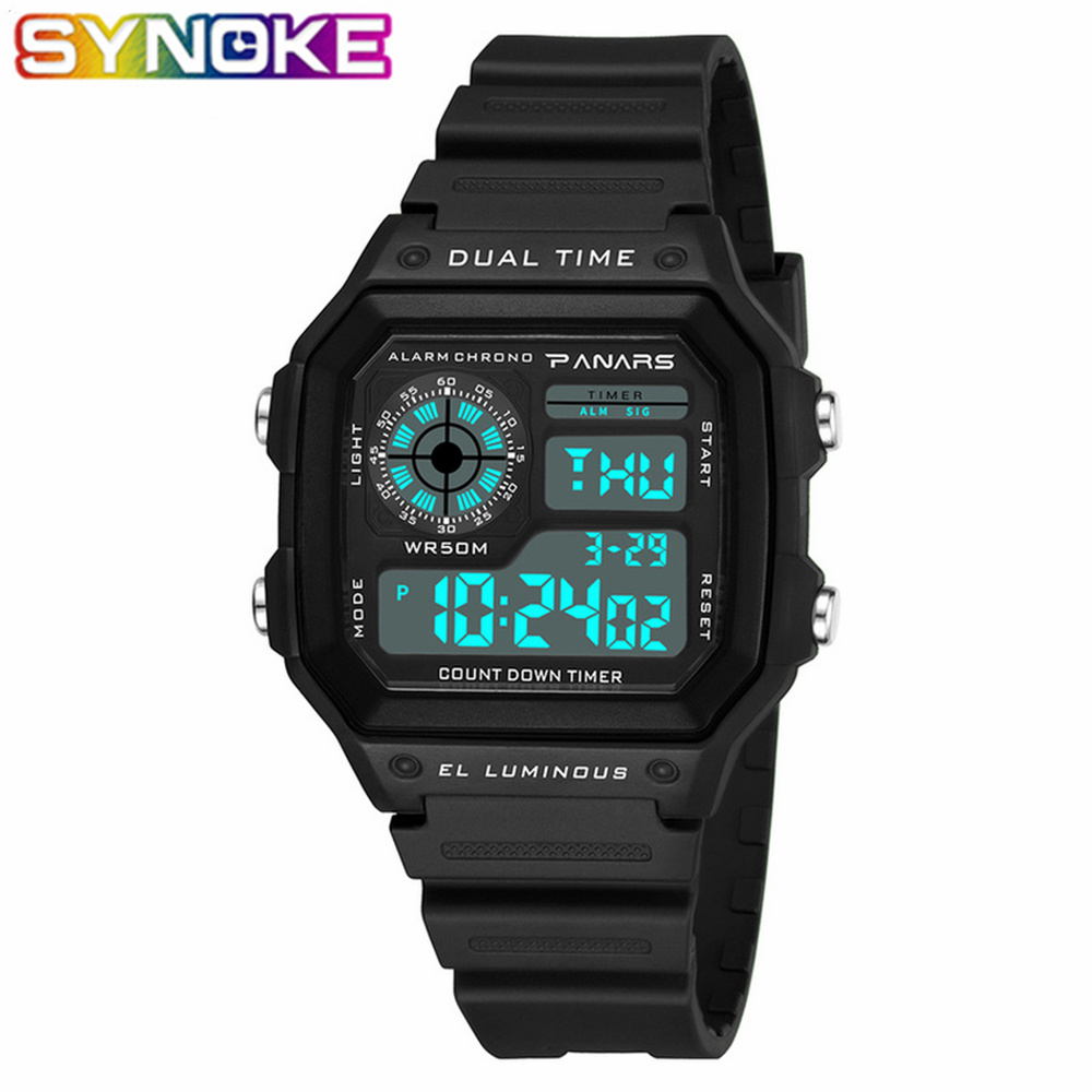 SYNOKE nouveauté luxe classique montre numérique G Style numérique choc étanche électronique Led montre sport montre-bracelet hommes
