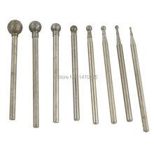 цены 8Pcs Diamond Coated 1-6 mm Spherical Head Mounted Points Spheres Grinding Bit Sculpting Tools Lapidary Gemstone