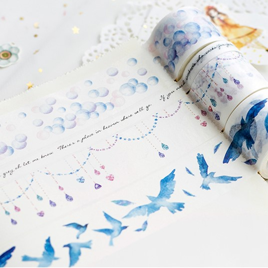 Blue Birds Bubble Washi Tape Decorative Craft Adhesive Tape DIY Scrapbooking Sticker Label Masking Tape 1roll 35mmx7m high quality rabbit home pattern japanese washi decorative adhesive tape diy masking paper tape label sticker gift page 8