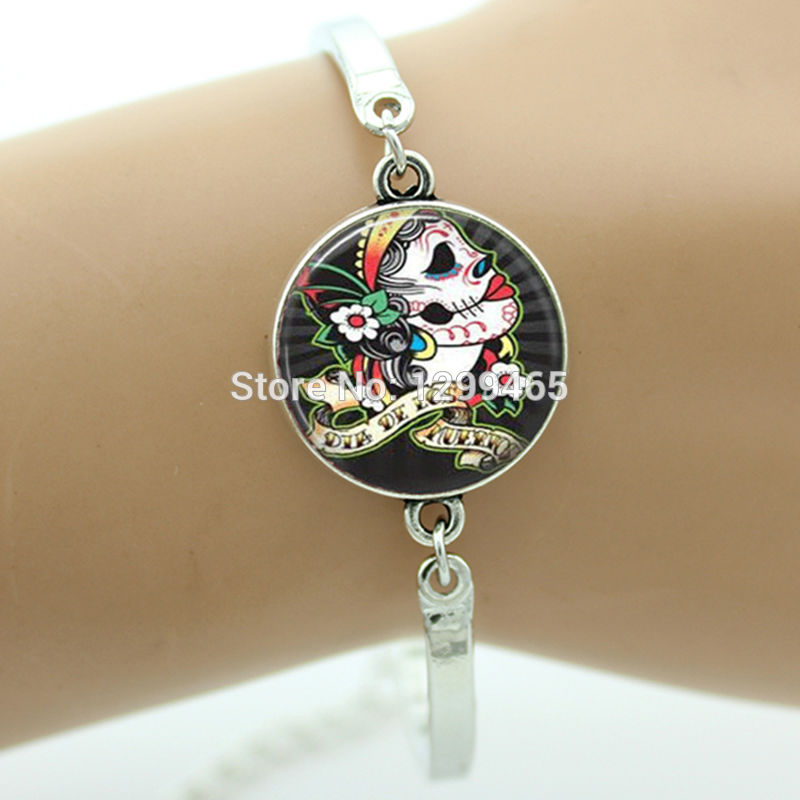 2015 New Fashion Picture Retro Ethnic Skeletons Style Bracelet Day Of The Dead Sugar Skull Jewelry Your Finish Choice B557