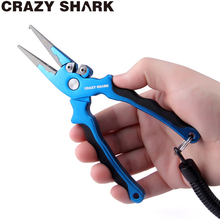 CrazyShark Aluminum Alloy Fishing Pliers Split Ring Cutters Holder Tackle with Sheath Lanyard  Hooks Remover