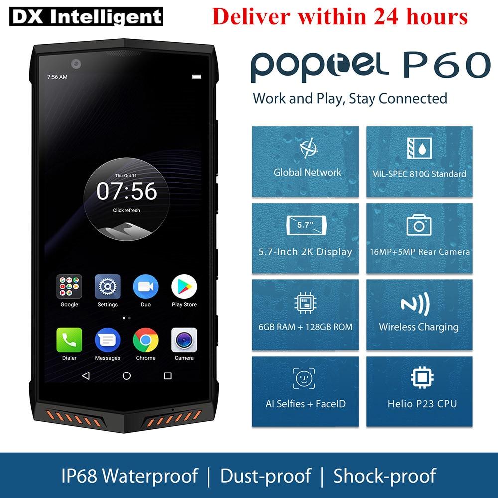 Poptel P60 6 gb 128 gb IP68 Impermeabile 5.7 pollice Helio P23 Octa Core Android 8.1 16MP Doppia Fotocamera NFC carica senza fili Del Telefono Mobile