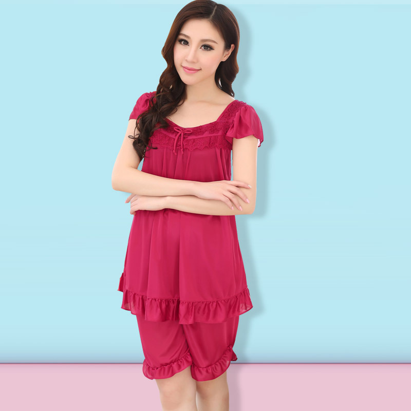 2015 hot fashion women's casual short-sleeved silk pajamas women home service package lace 6 colors free shipping