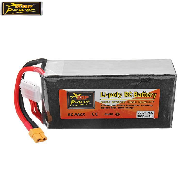 ZOP Power 22.2V 5000mah 75C 6S Rechargeable Lipo Battery XT60 Plug for RC Drone image