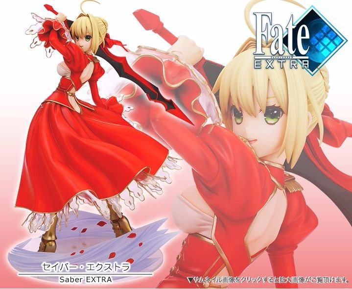 цена на Grand Order 23cm Anime Action Figure Fate Stay Night Red Saber Extra Fighting Ver Model 1/7 Collection Kids Decoration Doll