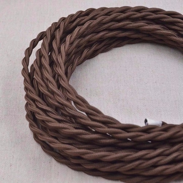5m 2x0.75 Antique Braided Woven Silk Fabric Lamp Cable Wire Cord ...