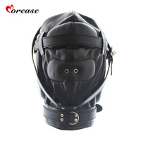 Morease Harness Leather Hood Fetish Mask Open Mouth Gag Plug Full Head Bondage Erotic Slave Restraints Hood Sexy Toy brinquedos