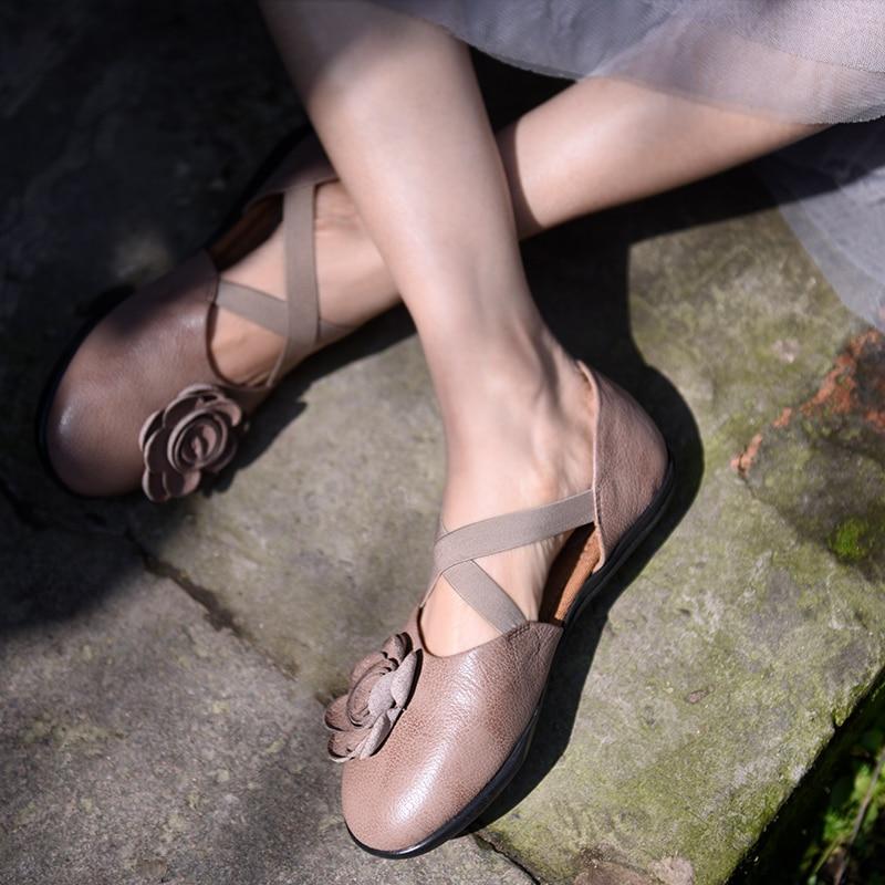 Flores Suave Pale 358 Cuero Mano Pinkish Original Mujer Nuevos Grey A Zapatos Artmu Retro Primavera khaki 6 Suela Sandalias De Genuino 2019 Plana Hecho nT4UnZqR8