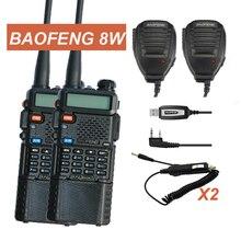 2x Baofeng UV-8HX MarkIII VHF/UHF Dual Band Любительское Радио Walkie Talkie двусторонней Радиосвязи + 2x Спикер + 1x Кабель 1/4/8 Вт fm-радио уф-5r