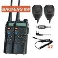 2x baofeng uv-8hx markiii vhf/uhf jamón doble banda de radio walkie talkie Altavoz de Radio de dos vías + 2x + 1x Cable 1/4/8 W radio FM uv-5r