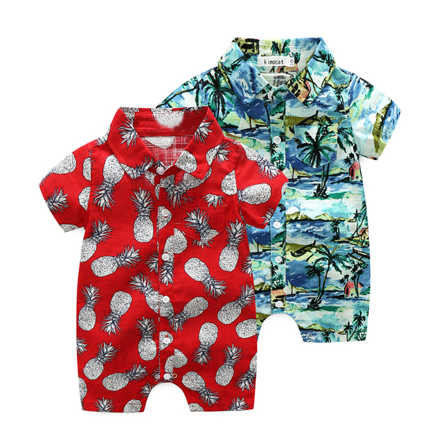 Roupas de bebê verão meninos estilo Havaiano calções macacão macacão  infantil roupas de criança crianças De 1d9af4cd4a4